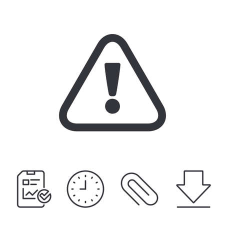 Attention sign icon. Exclamation mark. Hazard warning symbol. Report, Time and Download line signs. Paper Clip linear icon. Vector Фото со стока - 80996742