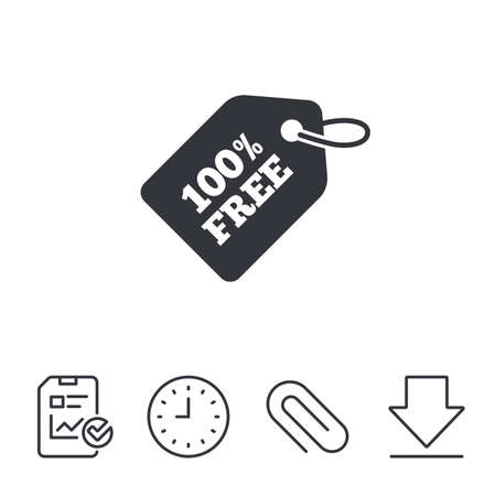 Free tag icon. Freebies banner symbol. Shopping special offer sign. Report, Time and Download line signs. Paper Clip linear icon. Vector