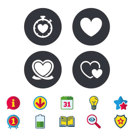 Heart ribbon icon. Timer stopwatch symbol. Love and Heartbeat palpitation signs. Calendar, Information and Download signs. Stars, Award and Book icons. Light bulb, Shield and Search. Vector