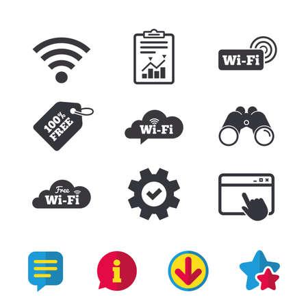 Icone di bolla di discorso di nuvola wireless di rete wireless gratuita. Simboli del segno della zona Wi-fi. Finestra del browser, segnalazioni e segni di servizio. Binocoli, informazioni e icone di download. Stelle e chat. Vettore Archivio Fotografico - 80996759