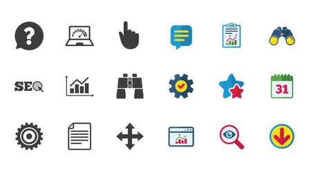 Internet, seopictogrammen. Analysegrafiek, pagina- en computerborden. Vraag tekstballon symbool. Kalender, rapport en downloadborden. Pictogrammen voor sterren, service en zoeken. Statistieken, verrekijkers en chat Stock Illustratie