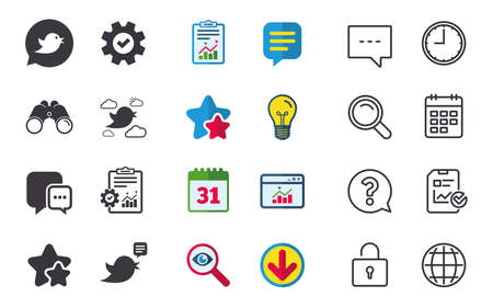 Birds icons. Social media speech bubble. Chat bubble with three dots symbol. Chat, Report and Calendar signs. Stars, Statistics and Download icons. Question, Clock and Globe. Vector Ilustrace