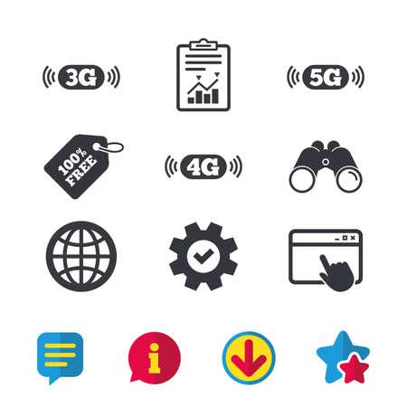 Icônes de télécommunications mobiles. Symboles technologiques 3G, 4G et 5G. Signe du monde globe Fenêtre du navigateur, signes de rapport et de service. Jumelles, informations et icônes de téléchargement. Stars et Chat. Vecteur Vecteurs