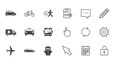 Transport icons. Car, bike, bus and taxi signs. Shipping delivery, ambulance symbols. Chat, Report and Calendar line signs. Service, Pencil and Locker icons. Click, Rotation and Cursor. Vector Ilustração