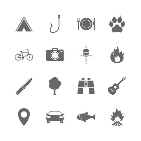 Set of Travel, Hiking and Camping icons. Fishing, Biking and Guitar music signs. Tourist tent, Food and Binoculars symbols. Photo and Rent a car. Isolated flat icons set on white background. Vector