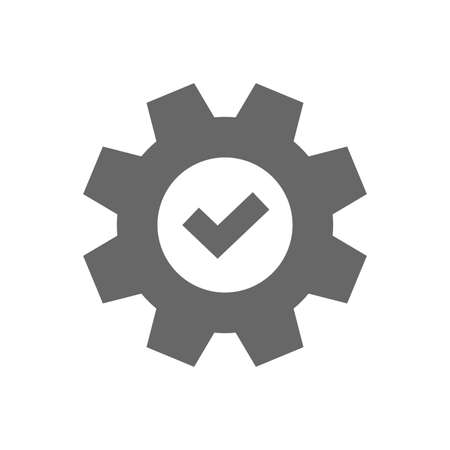 Service icon. Cogwheel with tick sign. Check symbol. Isolated flat icon on white background. Vector Illustration