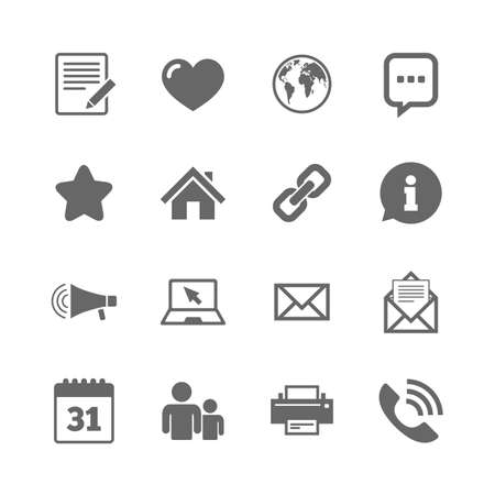 favourite: Set of Communication, Conference and Information icons. E-Mail, Printer and Internet signs. Speech bubble, Support and Phone call symbols. Isolated flat icons set on white background. Vector