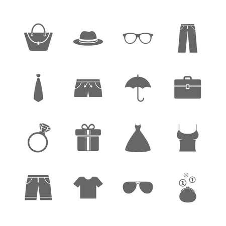 Conjunto de iconos de ropa, accesorios y gafas. Signos de la camisa, el paraguas y el sombrero. Símbolos cartera, bolso y maletín. Iconos planos aislados fijados en el fondo blanco. Vector Foto de archivo - 80928049