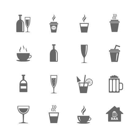 Set of Drinks, Beer and Cocktails icons. Coffee, Tea and Alcohol drinks. Wine bottle, Glass and Bar symbols. Isolated flat icons set on white background. Vector Ilustração