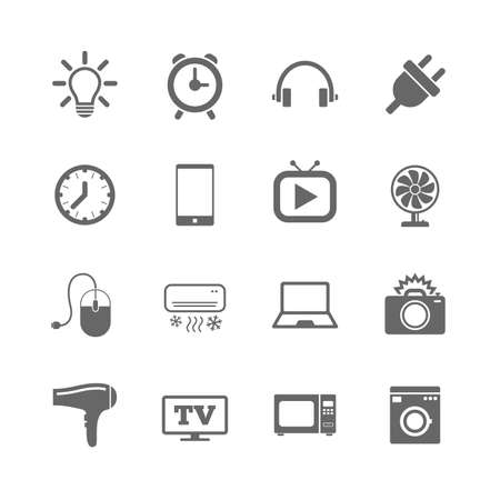 Set of Electronics, Home appliances and Devices icons. Hairdryer, Photo camera and Notebook signs. Air conditioning, Washing machine and Microwave oven symbols. Vector Ilustração