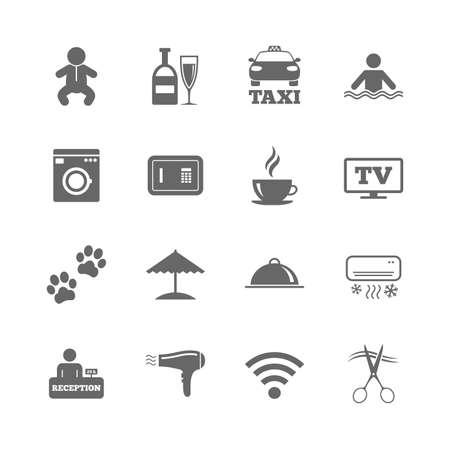 Set van pictogrammen voor hoteldiensten. Taxi, Wifi internet en zwembadborden. Koffie-, wijnfles- en airconditioning symbolen. Geïsoleerde vlakke die pictogrammen op witte achtergrond worden geplaatst. Vector Stock Illustratie