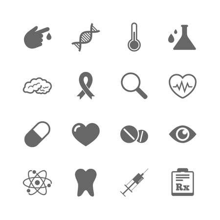 Set of Healthcare, Medicine and Diagnosis icons. Tooth, Pills and Syringe signs. Brain, Blood test and Thermometer symbols. Isolated flat icons set on white background. Vector Çizim