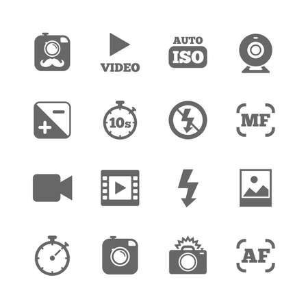 Set of Photo and Video icons. Camera, timer and frame signs. No flash and Auto focus symbols. Isolated flat icons set on white background. Vector