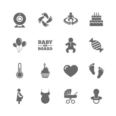Set of Maternity, Pregnancy and Baby care icons. Video monitoring, Child and Pacifier signs. Footprint, Birthday cake and Newborn symbols. Isolated flat icons set on white background. Vector 向量圖像