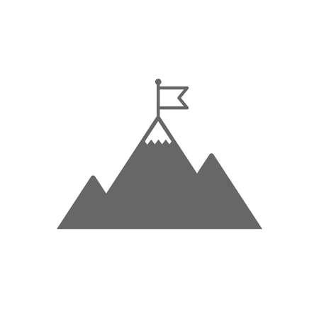 Flag on mountain icon. Leadership motivation sign. Mountaineering symbol. Isolated flat icon on white background. Vector Çizim