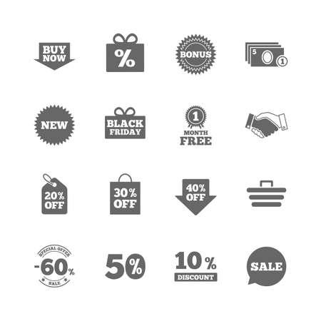Set pictogrammen voor winkelen, verkoop en kortingen. Geschenkverpakking, Deal en Winkelwagenstekens. Speciale aanbieding symbolen. Geïsoleerde vlakke pictogrammen die op witte achtergrond worden geplaatst. Vector