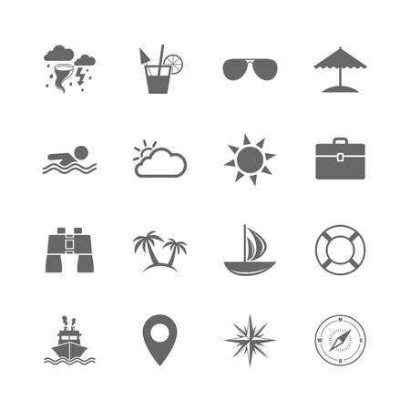 Set of Travel and Cruise icons. Ship, Yacht and Lifebuoy signs. Binoculars, Windrose and Storm symbols. Sun, Swimming and Sunglasses. Isolated flat icons set on white background. Vector