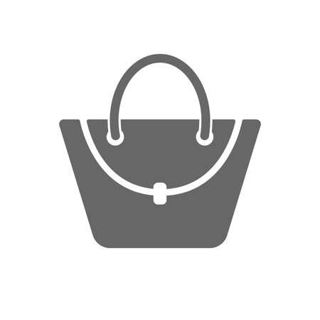 Cone de bolsa de mulher. Sinal de bolsa feminina. Símbolo de bagagem casual de glamour. Ícone plana isolada no fundo branco. Vetor Foto de archivo - 80928086