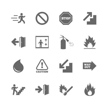 Set of Emergency, Fire safety and Protection icons. Extinguisher, Exit and Attention signs. Caution, Water drop and Way out symbols. Isolated flat icons set on white background. Vector Illustration