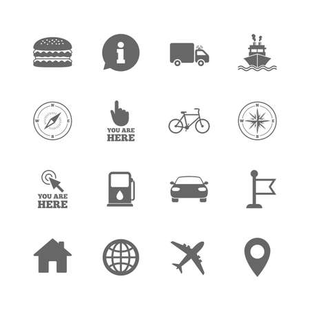 Set Of Navigation And Gps Icons Windrose Compass And Burger