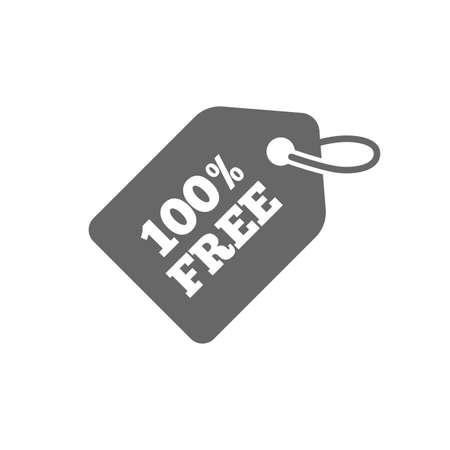Icono de etiqueta gratis. Símbolo de banner de regalos. Signo de oferta especial de compras. Icono plano aislado sobre fondo blanco. Vector