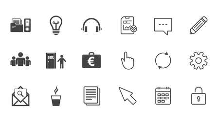 pencil case: Office, documents and business icons. Accounting, human resources and group signs. Mail, ideas and money case symbols. Chat, Report and Calendar line signs. Service, Pencil and Locker icons. Vector