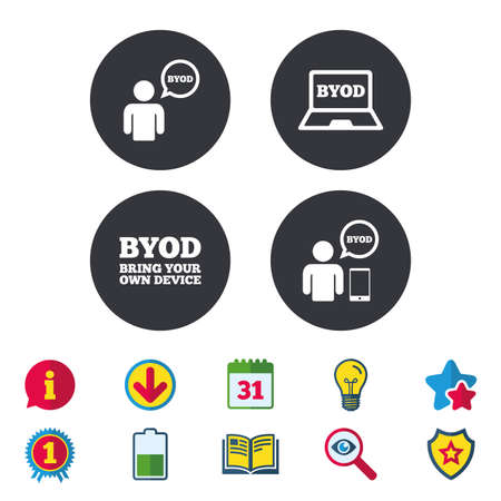 BYOD icons. Human with notebook and smartphone signs. Speech bubble symbol. Calendar, Information and Download signs. Stars, Award and Book icons. Light bulb, Shield and Search. Vector Illustration