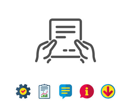 Hold Document line icon. Agreement Text File sign. Contract with signature symbol. Report, Service and Information line signs. Download, Speech bubble icons. Editable stroke. Vector