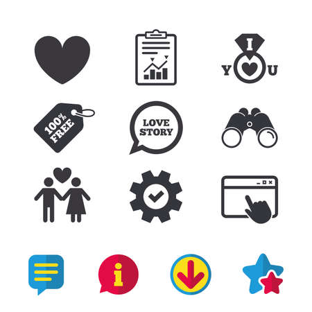 Valentine day love icons. I love you ring symbol. Couple lovers sign. Love story speech bubble. Browser window, Report and Service signs. Binoculars, Information and Download icons. Stars and Chat Illustration