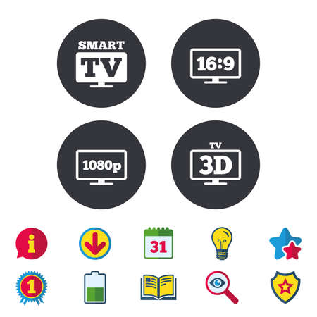 Smart TV mode icon. Aspect ratio 16:9 widescreen symbol. Full hd 1080p resolution. 3D Television sign. Calendar, Information and Download signs. Stars, Award and Book icons. Vector