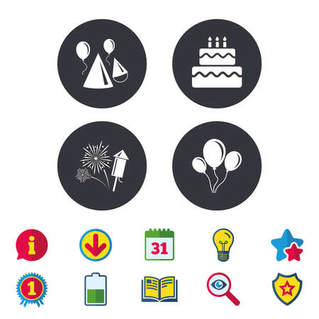 Birthday party icons. Cake, balloon, hat and muffin signs. Fireworks with rocket symbol. Double decker with candle. Calendar, Information and Download signs. Stars, Award and Book icons. Vector