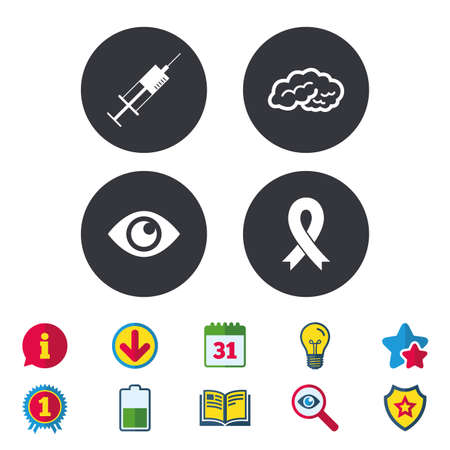 Medicine icons. Syringe, eye, brain and ribbon signs. Breast cancer awareness symbol. Human intelligent smart mind. Calendar, Information and Download signs. Stars, Award and Book icons. Vector