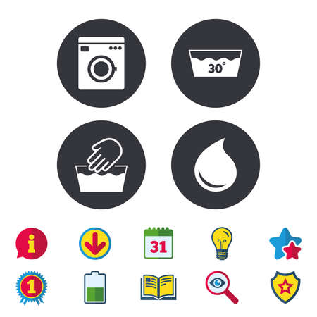 washbowl: Hand wash icon. Machine washable at 30 degrees symbols. Laundry washhouse and water drop signs. Calendar, Information and Download signs. Stars, Award and Book icons. Light bulb, Shield and Search