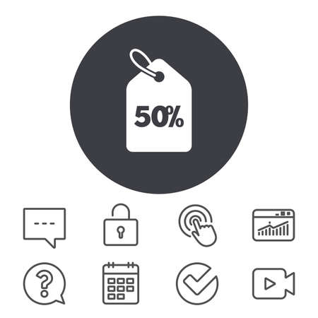 50% sale price tag sign icon. Discount symbol. Special offer label. Calendar, Locker and Speech bubble line signs. Video camera, Statistics and Question icons. Vector