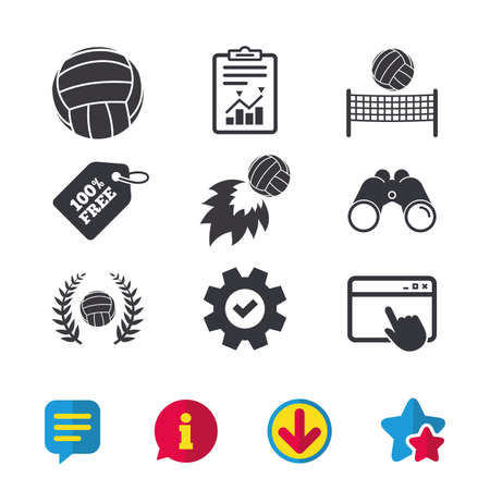 Volleyball and net icons. Winner award laurel wreath symbols. Fireball and beach sport symbol. Browser window, Report and Service signs. Binoculars, Information and Download icons. Stars and Chat