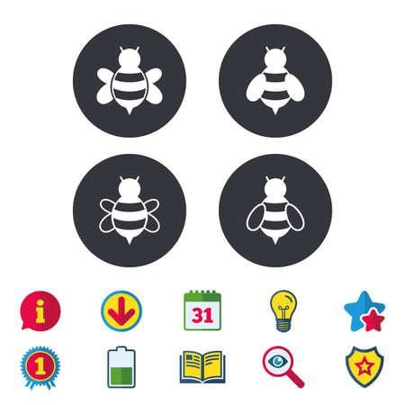 꿀벌 아이콘입니다. 범블 비 기호입니다. 스팅 징후와 곤충 비행. 달력, 정보 및 다운로드 표지판. 별, 수상 및 책 아이콘. 전구, 방패 및 수색. 벡터