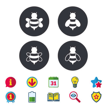 Honey bees icons. Bumblebees symbols. Flying insects with sting signs. Calendar, Information and Download signs. Stars, Award and Book icons. Light bulb, Shield and Search. Vector Illustration