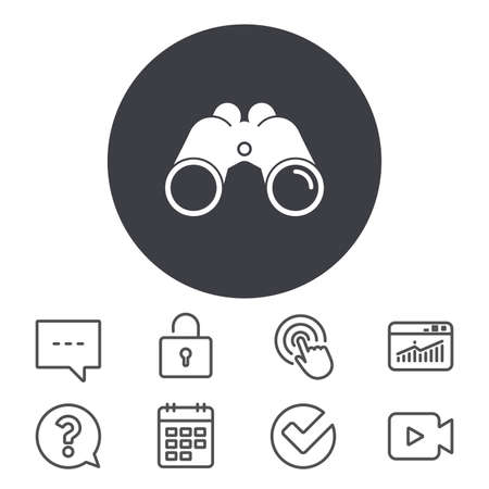 Binoculars icon. Find software sign. Spy equipment symbol. Calendar, Locker and Speech bubble line signs. Video camera, Statistics and Question icons. Vector