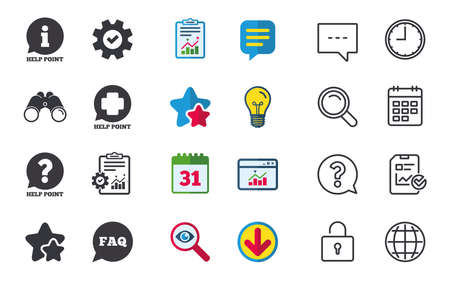 Help point icons. Question and information symbols. FAQ speech bubble signs. Chat, Report and Calendar signs. Stars, Statistics and Download icons. Question, Clock and Globe. Vector Ilustrace