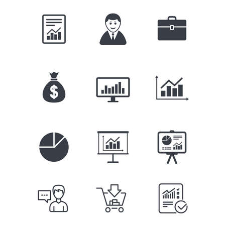 diplomat: Statistics, accounting icons. Charts, presentation and pie chart signs. Analysis, report and business case symbols. Customer service, Shopping cart and Report line signs. Vector