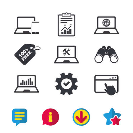 Notebook laptop pc icons. Internet globe sign. Repair fix service symbol. Monitoring graph chart. Browser window, Report and Service signs. Binoculars, Information and Download icons. Stars and Chat Illustration