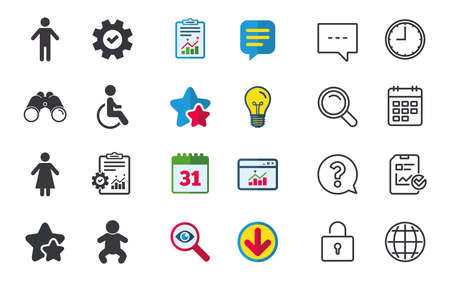 WC toilet icons. Human male or female signs. Baby infant or toddler. Disabled handicapped invalid symbol. Chat, Report and Calendar signs. Stars, Statistics and Download icons. Vector