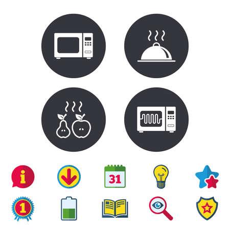 Icônes de four micro-ondes grill. Cuisson des signes de pomme et de poire. Symbole de service de plateau de nourriture. Calendrier, informations et symboles de téléchargement. Étoiles, récompenses et icônes du livre. Ampoule, bouclier et recherche. Vecteur Banque d'images - 81319569