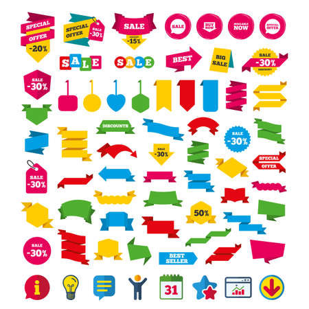 Sale icons. Special offer speech bubbles symbols. Buy now arrow shopping signs. Available now. Shopping tags, banners and coupons signs. Calendar, Information and Download icons. Vector Illustration
