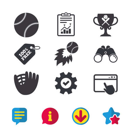 Baseball sport icons. Ball with glove and two crosswise bats signs. Fireball with award cup symbol. Browser window, Report and Service signs. Binoculars, Information and Download icons. Stars and Chat Illustration