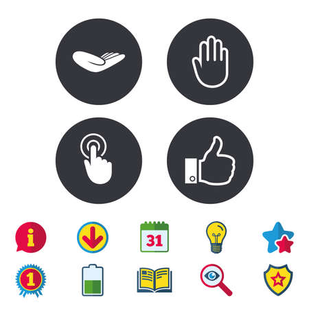 Hand icons. Like thumb up symbol. Click here press sign. Helping donation hand. Calendar, Information and Download signs. Stars, Award and Book icons. Light bulb, Shield and Search. Vector