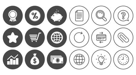 Online shopping, e-commerce and business icons. Piggy bank, award and star signs. Cash money, discount and statistics symbols. Document, Globe and Clock line signs. Vector