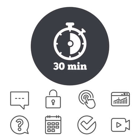 Timer sign icon. 30 minutes stopwatch symbol. Calendar, Locker and Speech bubble line signs. Video camera, Statistics and Question icons. Vector Ilustrace