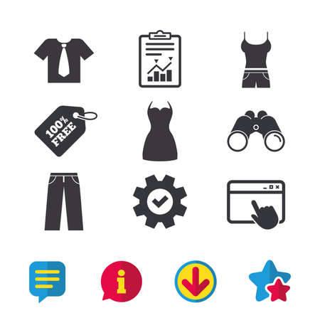 Clothes icons. T-shirt with business tie and pants signs. Women dress symbol. Browser window, Report and Service signs. Binoculars, Information and Download icons. Stars and Chat. Vector Illustration