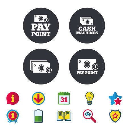 Cash and coin icons. Cash machines or ATM signs. Pay point or Withdrawal symbols. Calendar, Information and Download signs. Stars, Award and Book icons. Light bulb, Shield and Search. Vector